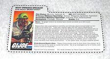1998 Heavy Duty - GI Joe file card (vintage)