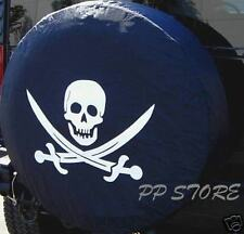 "NEW SPARE TIRE COVER 26.5""-28.5"" 15R Pirate Skull & Crosswords MS1007G R15"