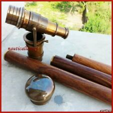 Vintage Antique Style Brass Telescope with Wooden Victorian Walking Cane Stick