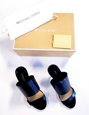 New Michael Kors Suzanne Open Toe Slide Heeled Sandals Black Leather Size 6.5/37