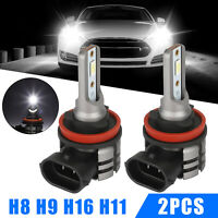 2x H8 H9 H11 H16 Super Bright LED Fog Light DRL Driving Bulbs 4000LM 6000K White