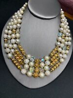 """Vintage 1950's Faceted Pearl Aurora Borealis Crystal 4 Strand Necklace Japan 20"""""""