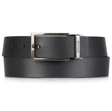 $99 KENNETH COLE REACTION Men BLACK BROWN LEATHER REVERSIBLE LOGO-BUCKLE BELT 36