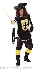 Mens Black Musketeer Historical Medieval Book Day Halloween Fancy Dress Costume