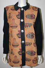 NEW FRONTIER Native American Indian Pottery Jacket M L Silver Vessel Buttons