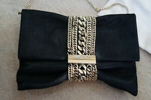 Jimmy Choo glitter suede  chandra clutch bag with gold hardware