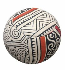 """RugsBeyond Hand Woven Pouf/Footstool, Ivory/Navy, Round, Tribal (15"""" x 17"""")"""