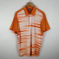 Puma Mens Golf Shirt Polo Size Large Orange White Short Sleeve