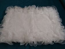 New Handmade Wedding Pillow Sham White Organza wired Ruffles Embroidery Beaded