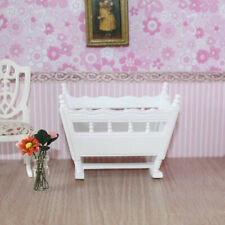 1/12 Dolls House Bedroom Furniture European Style Bed Floral Baby Cradle