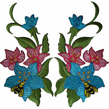 Pair of Flower Patches Iron Sew On Embroidered Patch Badge Bee Wasp Lily Flowers