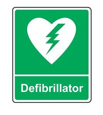 Vinyl AED defibrillator poster / sign A4
