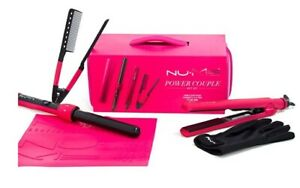 NuMe Power Couple Gift Set, in Pink NIB w/Wand, Flat Iron, Styling Comb, Hot Mat