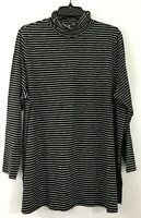 NEW J.JILL L L/S Turtleneck Tunic Knit Top Cotton/Modal/Sx Stripes Black
