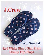 JCrew J. CREW SKINNY CLASSIC STAR FLIP-FLOPS Blue Red White STARS size 7 M Wm US