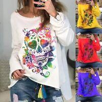 Women Easter Long Sleeve Skull Print Sweatshirt Pullover Jumper Tops Shirts