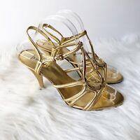 Nine West Women 9M Gold Leather Strappy Open Toe Slingback Stiletto Heels Formal