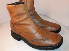 ALDO Brown Leather Ankle Boots Chukka Side Zipper Wingtip Mens Size 44 Italy
