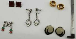 Vintage Lot of 5 pairs Clip Screw-back Earrings Fashion Jewelry (J9#2)(Lot 16)