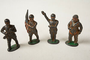 Lot 4 Diecast US Soldiers (R3C-25) Grey Manoil Barclay Paratrooper Flag Bearer