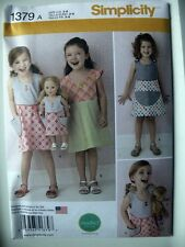 "Simplicity Pattern 1379 Child's Dress and Dress for 18"" Doll girls clothing"