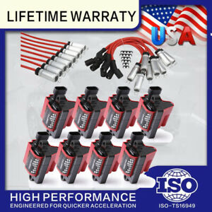 8 D581 Ignition Coils &Spark Wire For For CHEVY GMC CADILLAC 5.3L 6.0L 8.1L 4.8L