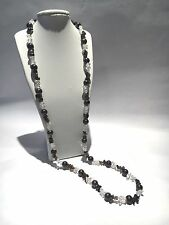 "New 37"" Peacock Cultured Pearl & White / Smokey Quartz Sterling Silver Necklace"