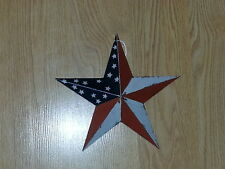 """Primitive 8"""" Americana Barn Star - Decorate, Country, Metal, Red, White, Blue"""