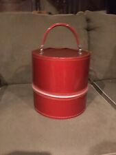 Vintage Small Wig Case Red Travel Box Faux Patent Leather 10� Metal Zip