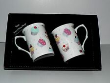Cupcake mug gift set 2 x bone china mugs with cupcake print in black gift box