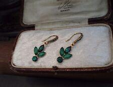 Vintage Emerald Green Crystal & Quartz Drop Earrings . Pierced Hook.