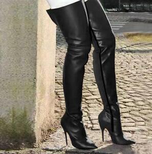 Schenkelhoch Stiefel Damenschuhe Extreme Boots Overkneestiefel High Heels Spitz