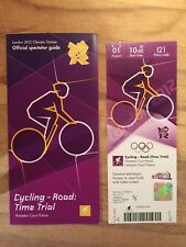 LONDON 2012 OLYMPIC TICKET CYCLING TIME TRIAL WIGGINS & SPECTATOR GUIDE *MINT*