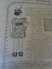 """ANCIEN PATRON POUR LA POUPEE """" BLEUETTE PETIT PEIGNOIR JAPONAIS FEVRIER  1921"""