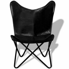 Butterfly Chair Iron Stand and Black Leather Cover Indoor Outdoor Chair by - IHA
