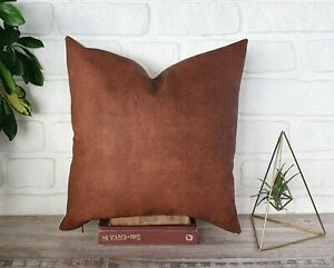 Cognac brown cork look faux leather color and back side linen pillow cover-1QTY