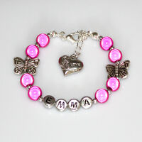 New Girls Kid Butterfly Bracelets Any Name Birthday Charm Personalised Gift