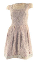 Gorgeous Peach Lace Dress Cap Sleeves Full Soft Pleated Skirt Orig Price £75