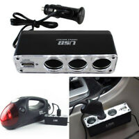 3 Way 12V Multi Socket Car Cigarette Lighter Splitter + USB DC Charger love