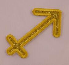 Embroidered Gold Glitter Horoscope Zodiac Sagittarius Archer Patch Iron On Sew