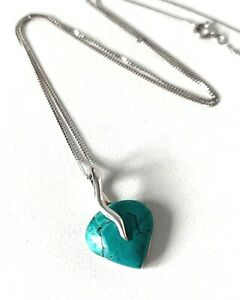 Solid Sterling Silver Turquoise Colour HEART Pendant & Fine Link Chain Necklace