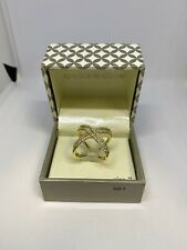 Sparkle Allure Gold Toned Ring with Crystals Size 7 #J54
