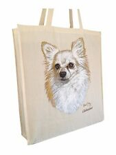 Chihuahua Reusable Cotton Shopping Tote Bag with Gusset and Long Handles