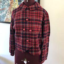 Ladies Vintage Wool Jacket To Fit Size 8 Red & Blue Tartan Check