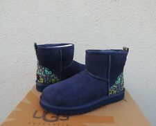 UGG NAVY FLORAL CLASSIC MINI LIBERTY SUEDE/ SHEEPSKIN BOOTS, US 7/ EUR 38 ~NEW