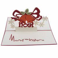 Handmade Blank 3D Pop Up Greeting Card PostCards Christmas Jingling Bell wi X1S5