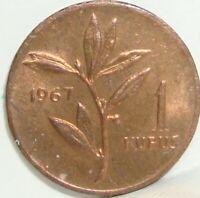 1967 TURKEY 1 KURUS  NICE WORLD COIN