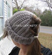 Crochet Messy Bun Hat Women fashion Pony Tail Beanie Mom Handmade Gray handmade