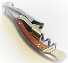 Fancy Double Hinge Wood Handle Corkscrew Waiters Wine Key Bottle Opener #WOOD-05