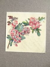 Antique CHRISTMAS Card  Hawthorn Pink May Blossom Victorian Chromo Litho